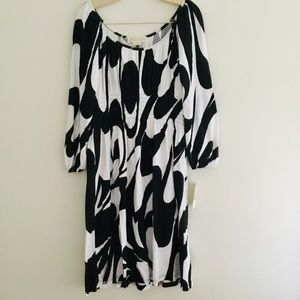 Michael Kors black and white peasant dress